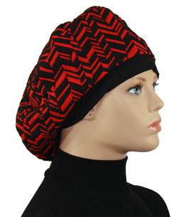 Damenbaske Ballonmütze rot schwarz Lilli