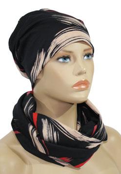 Mütze Schal Set schwarz rot rosa Ana
