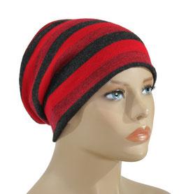 Beanie Mütze rot schwarz Streifen Pya