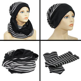 Mütze Schal Stulpen Set grau-schwarz Sina