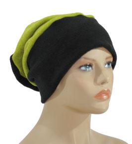 Beanie Fleece Mütze schwarz gelbgrün Pam