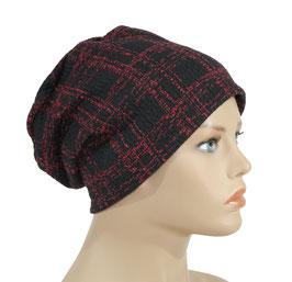 Beanie Mütze Jerseymütze schwarz rot Lia