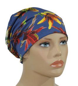 Beanie Mütze Jerseymütze blau Lilie