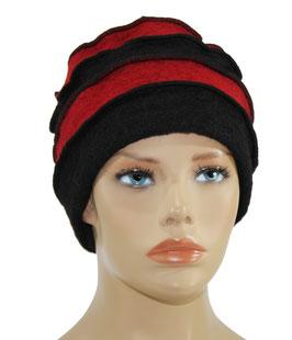 Filzmütze Walkmütze schwarz - rot Dion