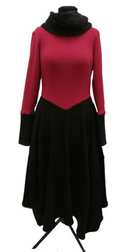 Winterkleid Maxikleid rot schwarz Damenkleid Winter