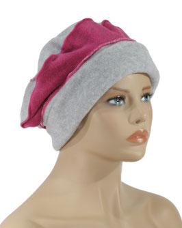 Damen Mütze Ballonmütze Baske grau - pink Lise