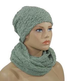 Damen Jersey Set Mütze Loop Schal grün Jora