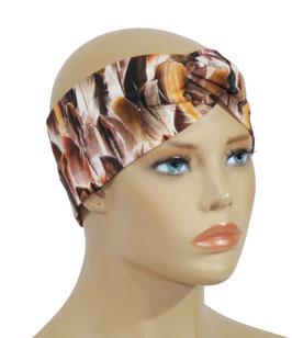 Damen Stirnband brauntöne Federndruck