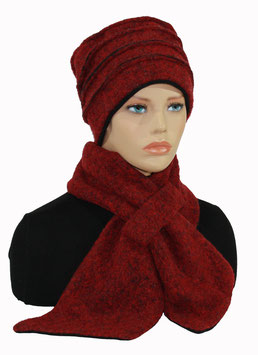 Set - Mütze Schal rot melange Liane