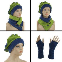 Damen Mütze Schal Stulpen Fleece blaugrün Valerie