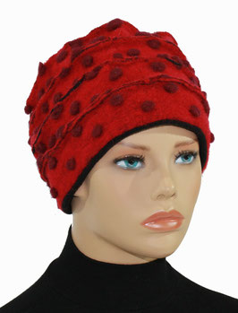 Walkmütze Wintermütze Damenmütze Wollmütze rot Tupfen Paula