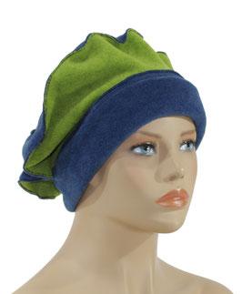 Damen Fleece Mütze Barett Ballonmütze blau grün Valerie