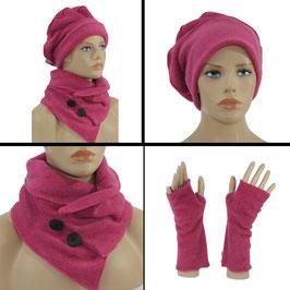 Mütze Schal Stulpen Set Fleece pink Lise