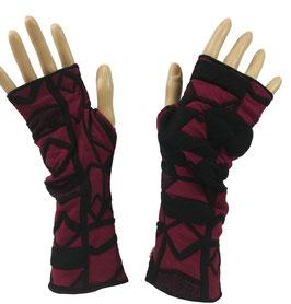 Armstulpen Daumenloch Jersey pink schwarz Ella
