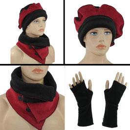 Mütze Schal Set schwarz rot Romi