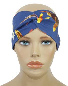 Turban Stirnband Haarband blau Lilie