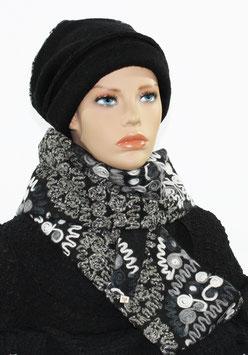 Winterset Mütze Schal schwarz weiß Lola