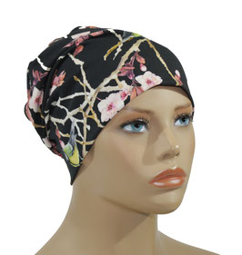 Chemo Mütze Kopfbedeckung schwarz rosa Meise