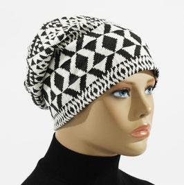 Beanie Mütze Damenmütze Chemo Cap schwarz weiß Renate