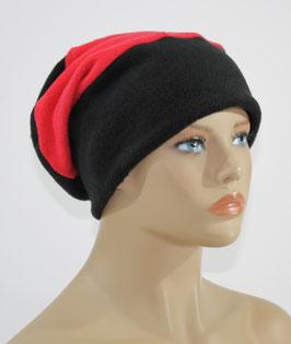 Chemo Beanie Fleece Mütze schwarz - rot Felie