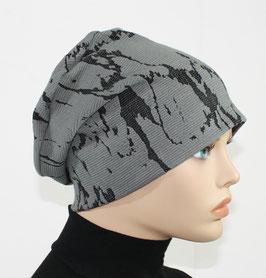 Beanie Mütze Jersey Mütze grau Jacquard Gisele