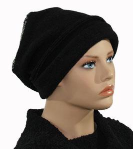 Damenmütze Walkmütze lang schwarz grau Lola