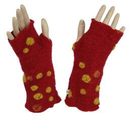 Daumenloch Armstulpen rot mit gelben Punkten Fiona