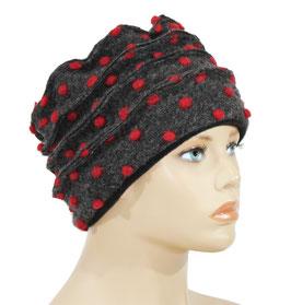 Damen Walkmütze grau rot Tupfen Marie