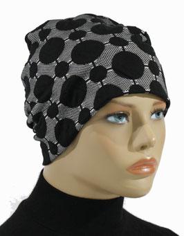 Beanie Mütze Chemo Mütze schwarz grau Lina