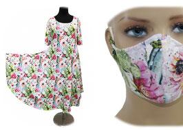 Jerseykleid Sommerkleid Damenkleid mit Mundschutz Mexika
