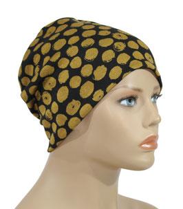 Beanie Mütze Jerseymütze schwarz gold Aline