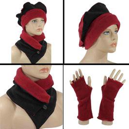 Mütze Schal Set Fleece rot schwarz Romi