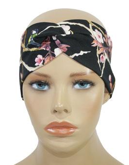 Turban Stirnband Haarband schwarz rosè Meise