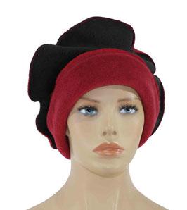 Damen Mütze Ballonmütze rot schwarz Romi