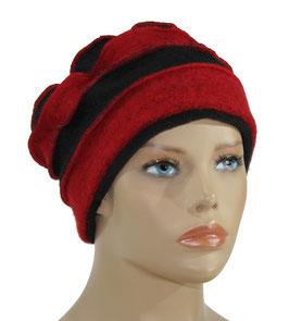 Filzmütze Walkmütze rot schwarz Dion