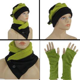 Fleece Mütze Schal Stulpen Set schwarz grün Pam