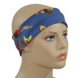Stirnband Haarband blau Lilie
