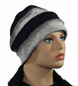 Damenmütze Walkmütze Wollmütze blau-grau Isa