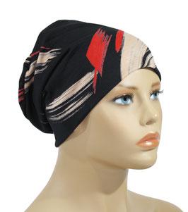 leichte Chemo Mütze schwarz rot Ana