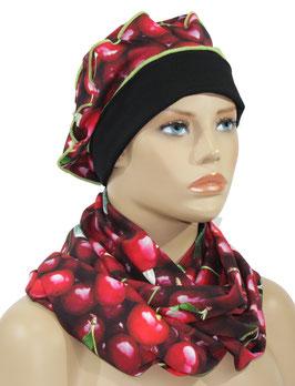 Mütze Schal Set schwarz rot Kirschen Druck