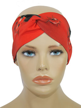Damen Stirnband Turban rot schwarz Marini