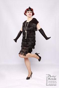 Kleid Fransen schwarz 20er Jahre Stil