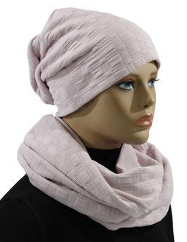 Damen Mütze Schal Set Jersey rosa Julita