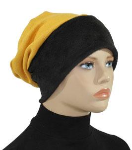 Beanie Mütze Wintermütze gelb schwarz Samira
