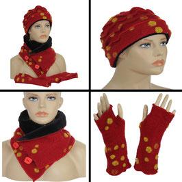 Mütze Schal Set Wollfilz rot Punkte gelb Fiona