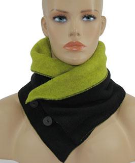 Schal Kragen Fleece hellgrün - schwarz Pam