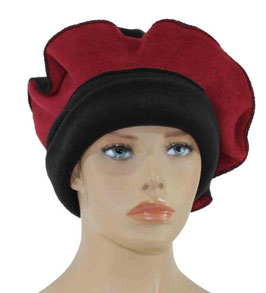 Damen Mütze Ballonmütze schwarz rot Romi
