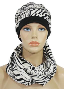 Mütze Schal Set Leinen Zebra Look Sana
