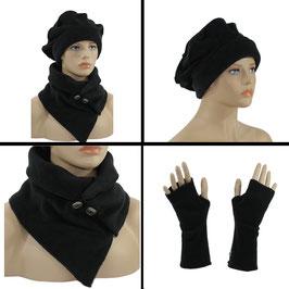 Mütze Schal Set Fleece schwarz Tara