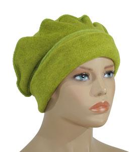 Baskenmütze Damen Fleecemütze gelbgrün Pam